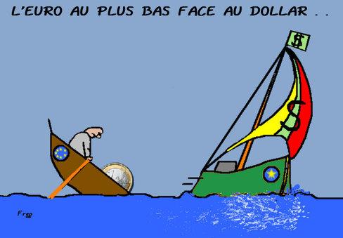 L'euro au plus bas face au dollar...