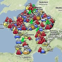 Carte des plans sociaux en France depuis 2008